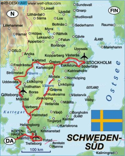 Reisweg Zweden 2010
