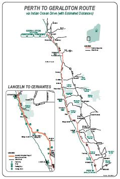 Perth to Geraldton route via Indian Ocean Drive