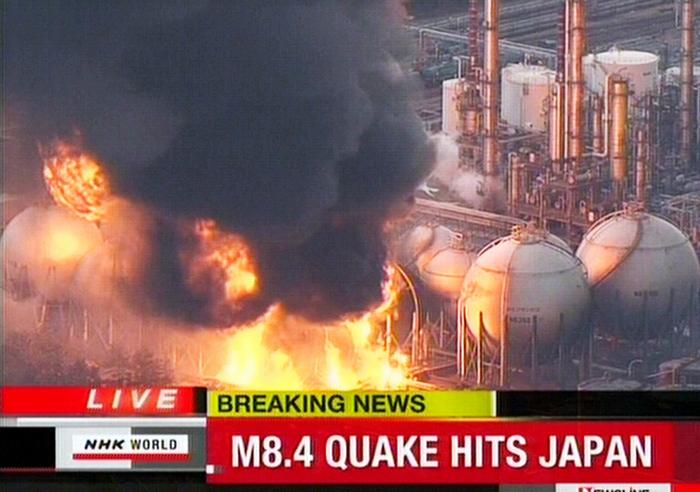 Branden in Japan na aardbeving