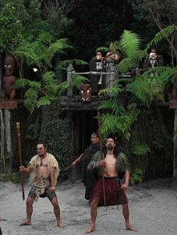 De Maoristamhoofden heten ons welkom