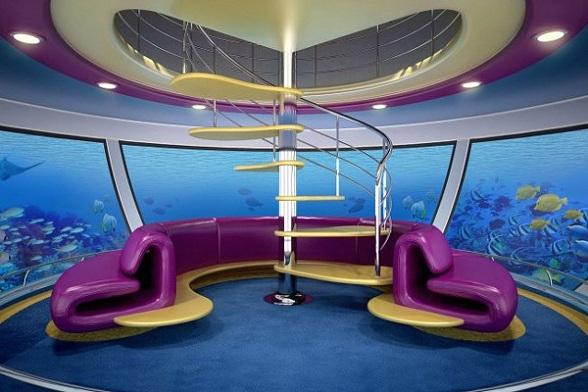 Op zee wordt het nog spectaculairder: vier deels onderwater gebouwde hotels in de vorm van superjachten, allen met 75 luxe suites, zullen door middel van onderwatergangen worden aangesloten op een centrale hal.