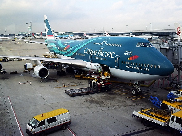 Een B747 van Cathay Pacific op Hong Kong International Airport