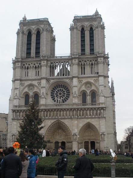 De Notre Dame is de meest indrukwekkende kerk die ik ooit gezien heb. De grote kerstboom voor de kerk maakte het plaatje verder af.