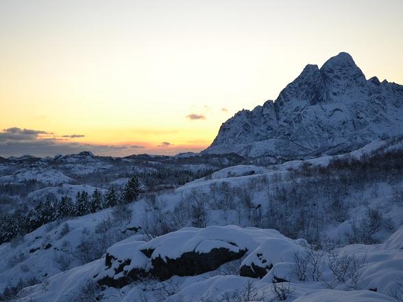 Zonsondergang tijdens de snowhike