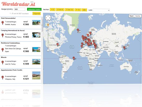 Reisaanbod op Google Maps