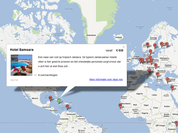 Reisaanbod op Google Maps van Wereldradar.nl