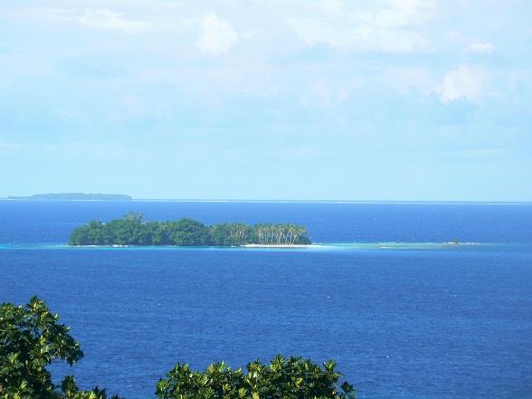 Gezicht over de lagune van Chuuk
