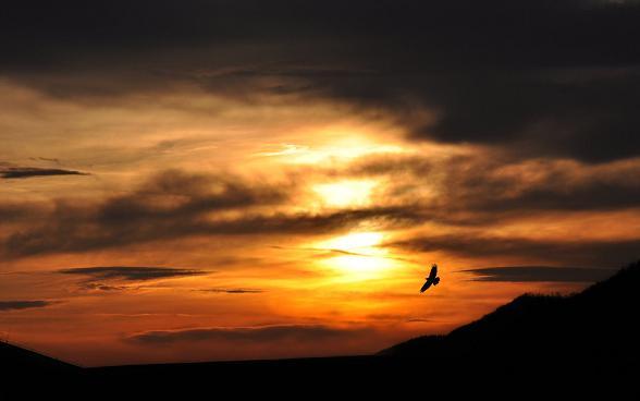 zonsondergang op de Lofoten in Noorwegen