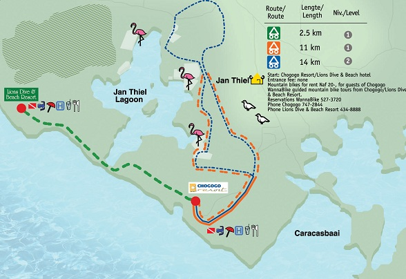 Mountain biking trail map of Jan Thiel Lagoon