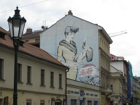 Muurschildering in Praag