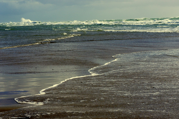 De Botsende Zeeën bij Grenen, het uiteinde van de landtong Skagens Odde aan de noordoostkust van het eiland Vendsyssel-Thy in Jutland