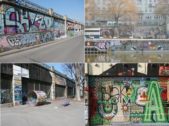 Fietstocht door Wenen - De kades langs het Donaukanaal worden versierd door talloze graffitiwerken. In de zomer schijnen hier veel pop-up restaurants te zijn.