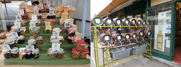 Specialiteiten op de Naschmarkt in Wenen, zoals zelfgemaakte jam en biologisch azijn.