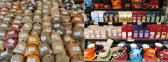 Buiten het aanbod aan verse groenten en fruitsoorten vind je op de Naschmarkt ook kruiden en theespecialiteiten.