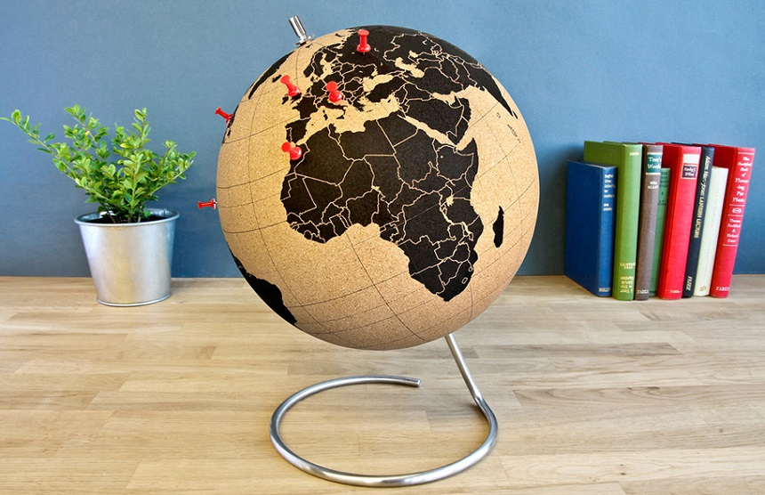 "Stick pins in the places you've been or plan your future travels. Full-size 10"" (Ø 25cm) cork globe with a clear and simple world map: pinpoint cities and tick-off countries as you journey around the planet. Mounted on a stainless steel base and supplied with pins"