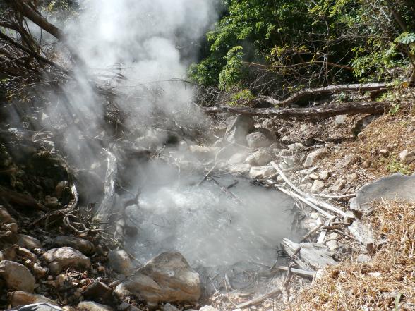Een heetwaterbron in Rincon de la Vieja. De vulkanische verschijnselen zie je vooral als je de 'Las Pailas' wandelroute volgt.