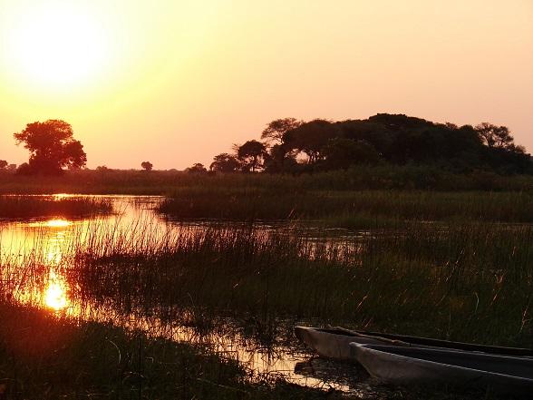okavango delta zonsondergang