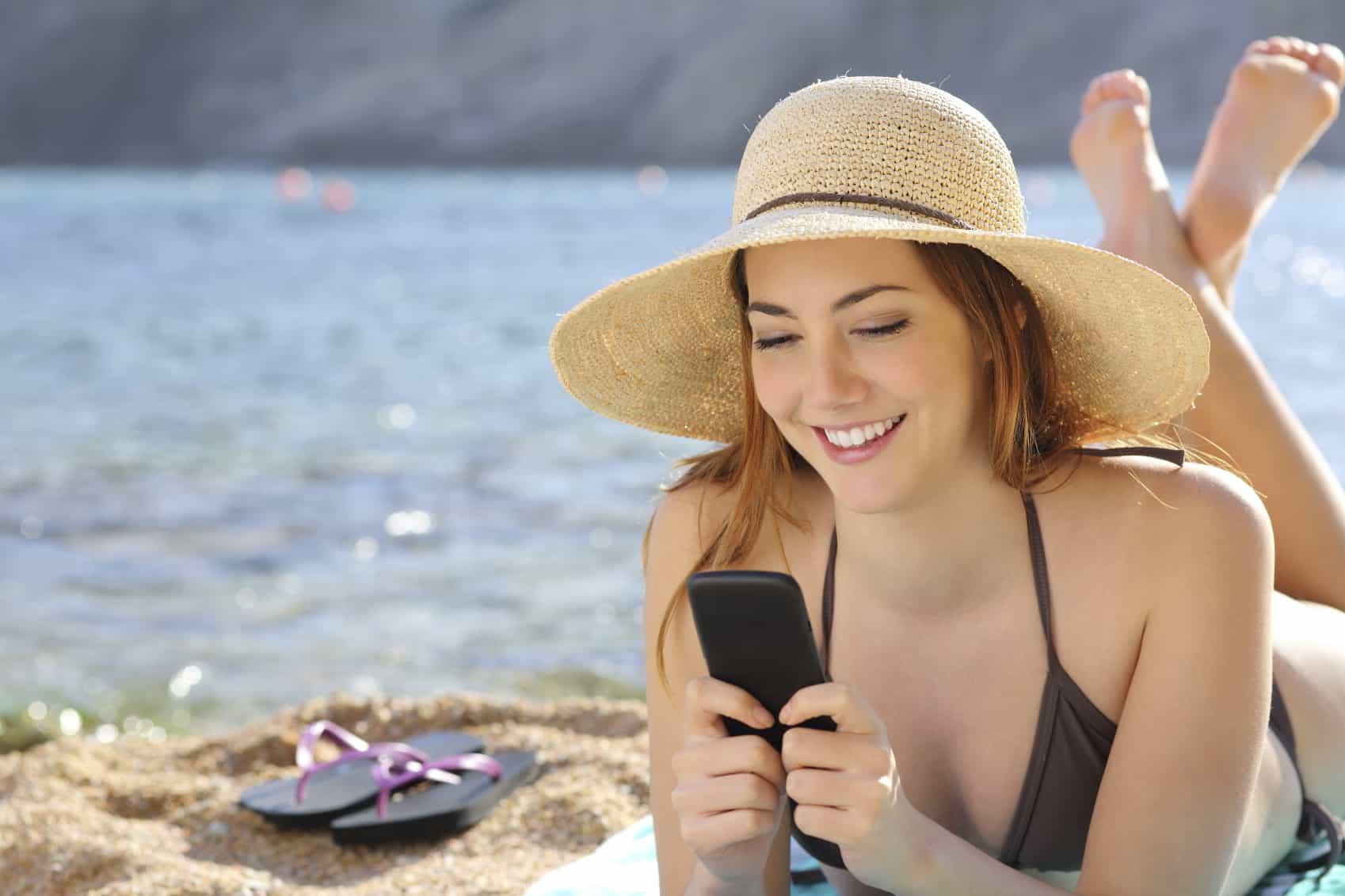 smartphone met vakantie