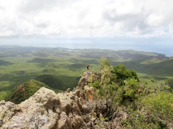 Op de top van de Christoffelberg in Curacao