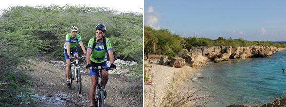 Mountainbiken op het schiereiland van de Caracasbaai op Curacao