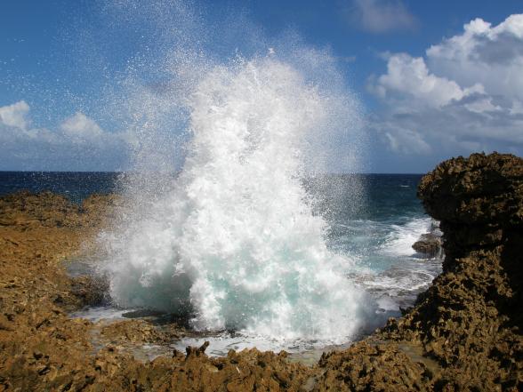 Wil je kennismaken met de ruige kant van 'Blue Curaçao'? In nationaal park Shete Boka zie je de golven met veel geweld op de rotsen klappen: een waar spektakel!
