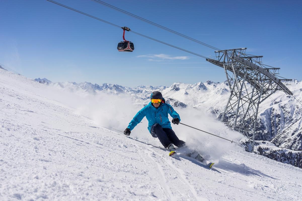 Goede sneeuwcondities op de pistes van de Silvretta Arena in Ischgl