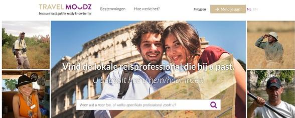 Zo ziet de website van TravelMoodz eruit