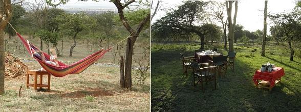 De tuin van Amazing Kenya Retreat heeft volop plekjes om te relaxen