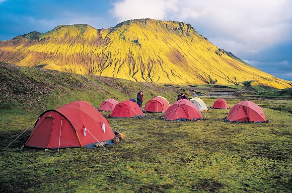 Tents in Landmannalaugar Wilderness Area, Southern Highlands