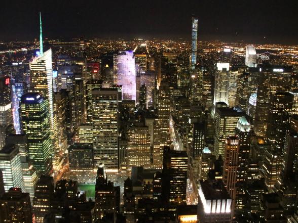 's Nachts heb je vanaf het Empire State Building een heel mooi uitzicht over New York