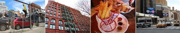 Typisch New York: fastfood, gele taxi's en gebouwen met gietijzeren brandtrappen