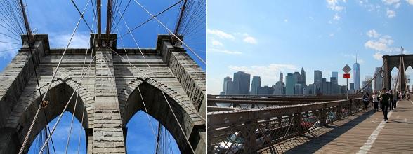 Vanaf de Brooklyn Bridge kun je de gebouwen van Lower Manhattan goed zien
