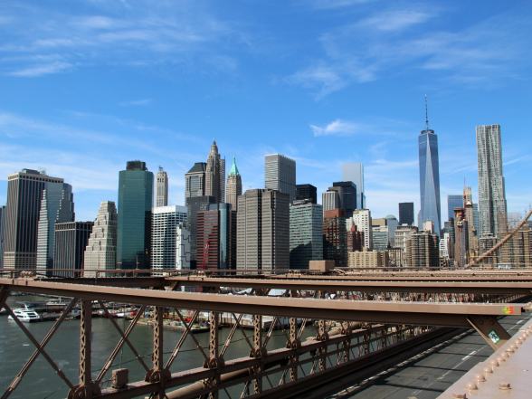 New York gezien vanaf de Brooklyn Bridge