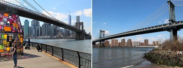 Vanaf DUMBO kijk je onder de Brooklyn Bridge door naar de skyline van New York