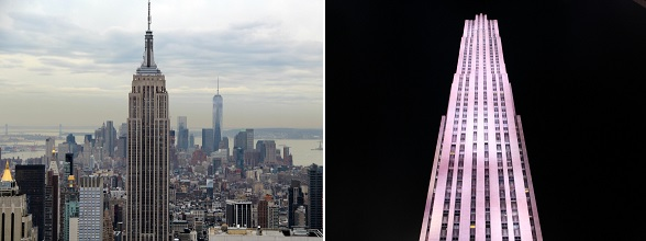 Links: Empire State Building. Rechts: Top of the Rock/30 Rockefeller Plaza.
