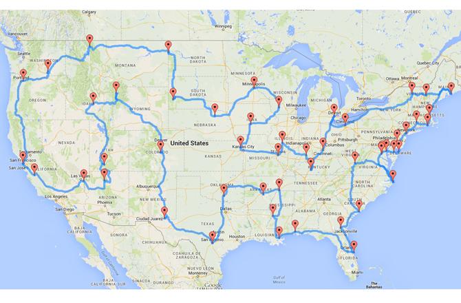 US roadtrip map