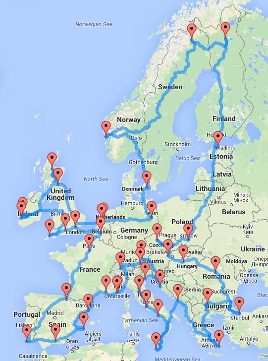 europe optimal road trip