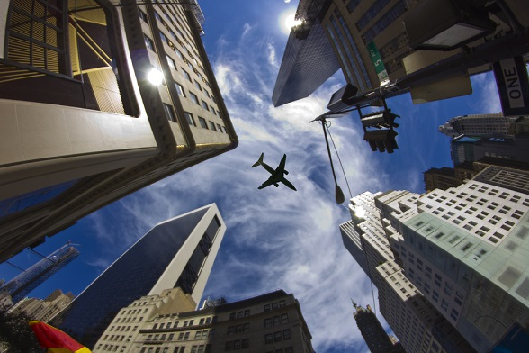vliegtuig wolkenkrabbers