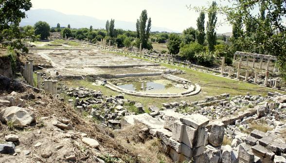 De historische site Afrodisias is de ruïne van een stad die werd gebouwd ter ere van de godin Aphrodite.