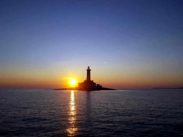 Zonsondergang bij Porer Island