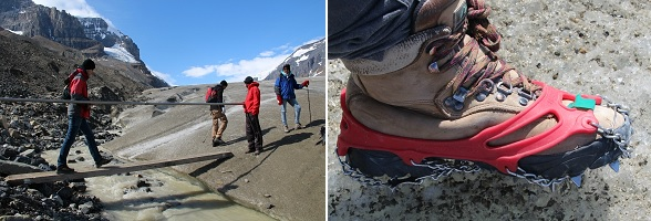 Wandelen over een gletsjer in Canada met ijzers onder de schoenen