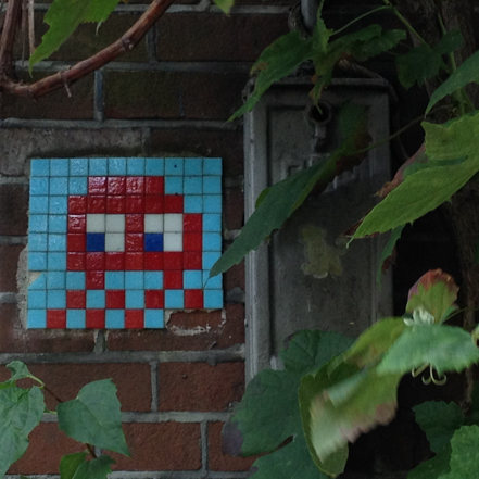 Space Invader Street art in Amsterdam