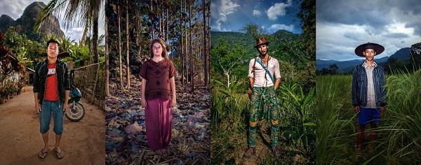 BananaPancakes- Shai, toeristisch ondernemer in zijn geboortedorp, Eliza uit Australië, Vogel, een Franse backpacker en rijstboer Khao, die ook wandelexcursies organiseert
