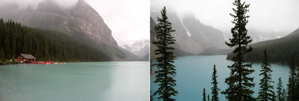 Lake Louise en Moraine Lake in Canada