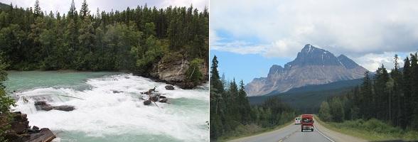 De route van Clearwater naar Jasper in Canada