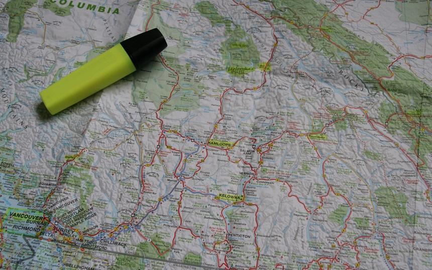 kaart camperreis West-Canada