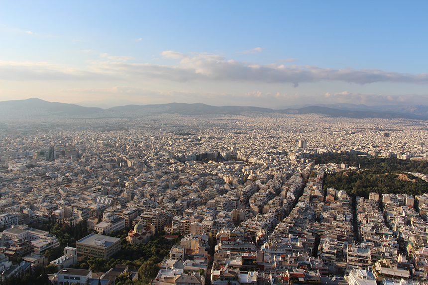 Uitzicht over Athene vanaf Mount Lycabettus