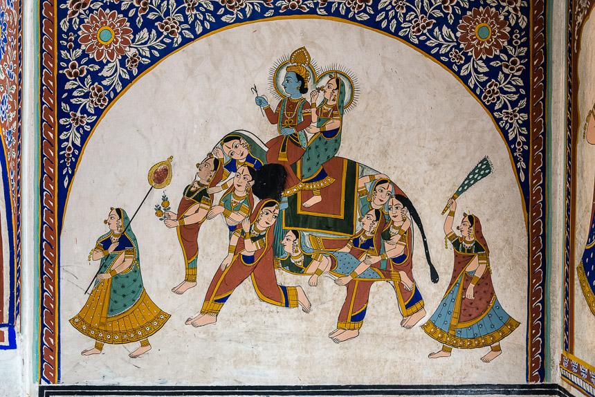Nawalgarh - Poddar Haveli museum. Olifant van vrouwen
