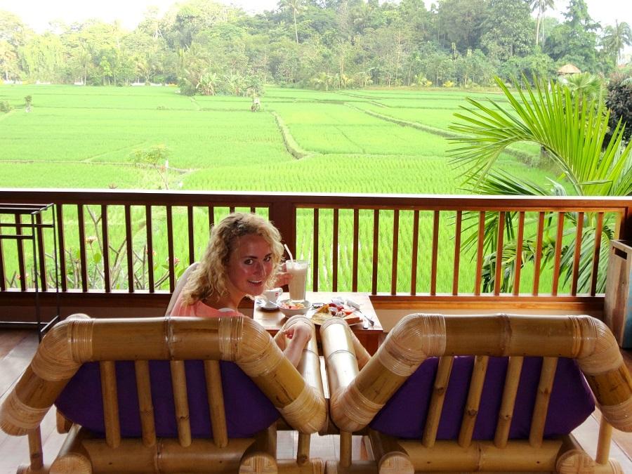 Geniet vanaf je veranda van de uitgestrekte rijstvelden