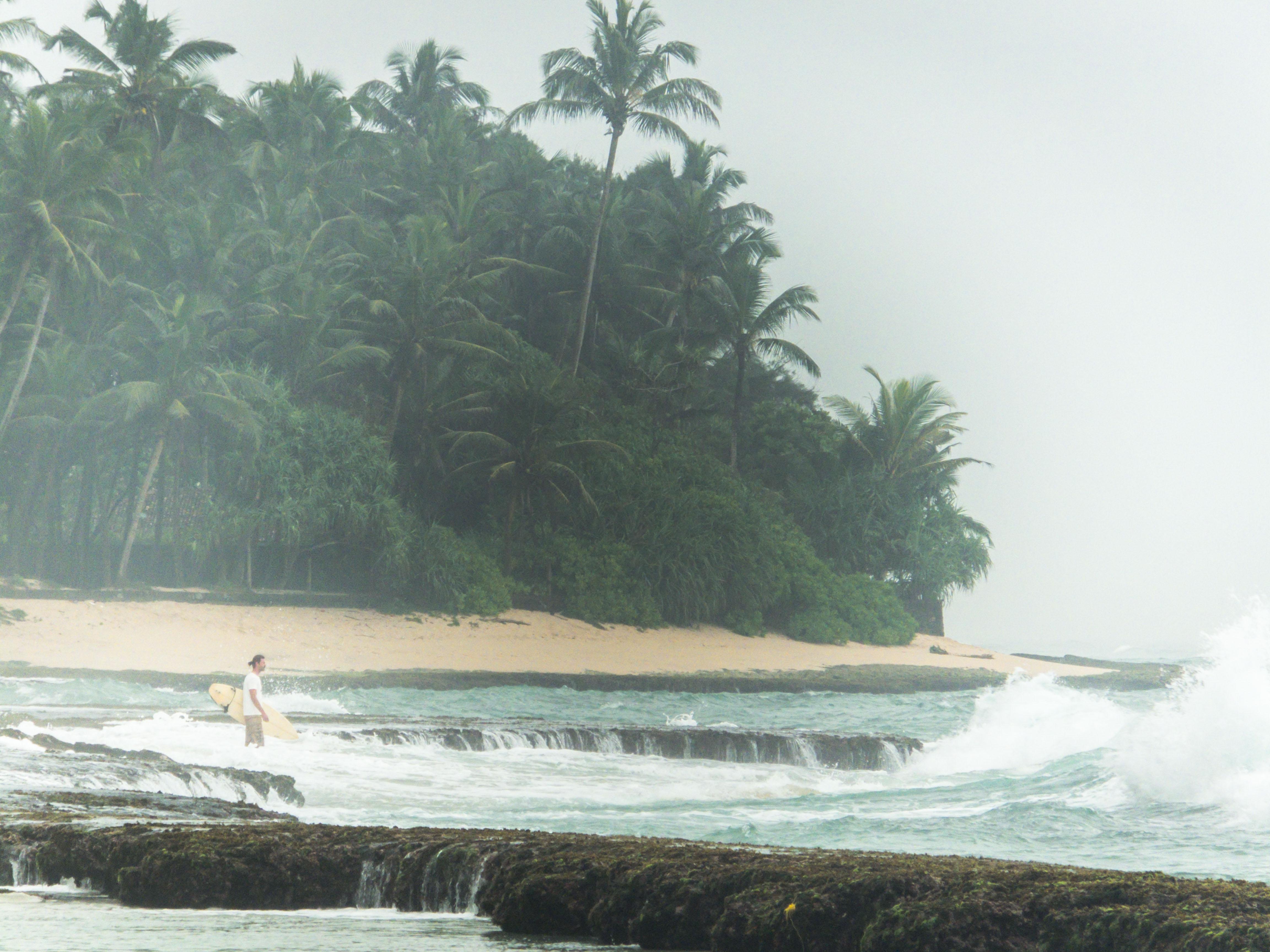 op zoek naar golven aan de zuidkust